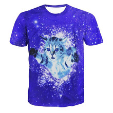 Newest Animal 3D T Shirt Kitty Glitter Tees Fuzzy Cat Explore Galaxy Space Print Crewneck T-Shirt Tops Camisetas Dropship R2449