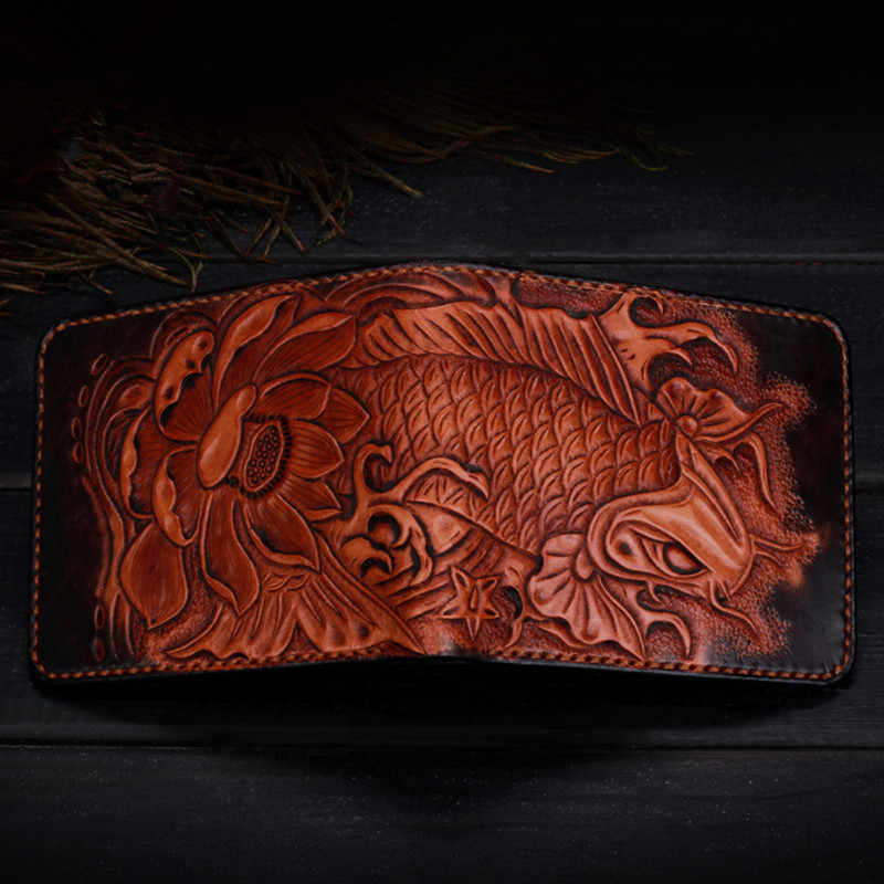 Wallet Purse Clutch Bag Black Tan Leather Carved Compartments Great Quality