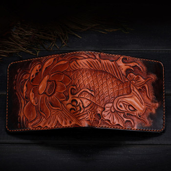 Hand Engraving Short Cow Leather Hand Carved Carp Wallets Purses Men Clutch Vegetable Tanned Leather Wallet Card Holder  Gift