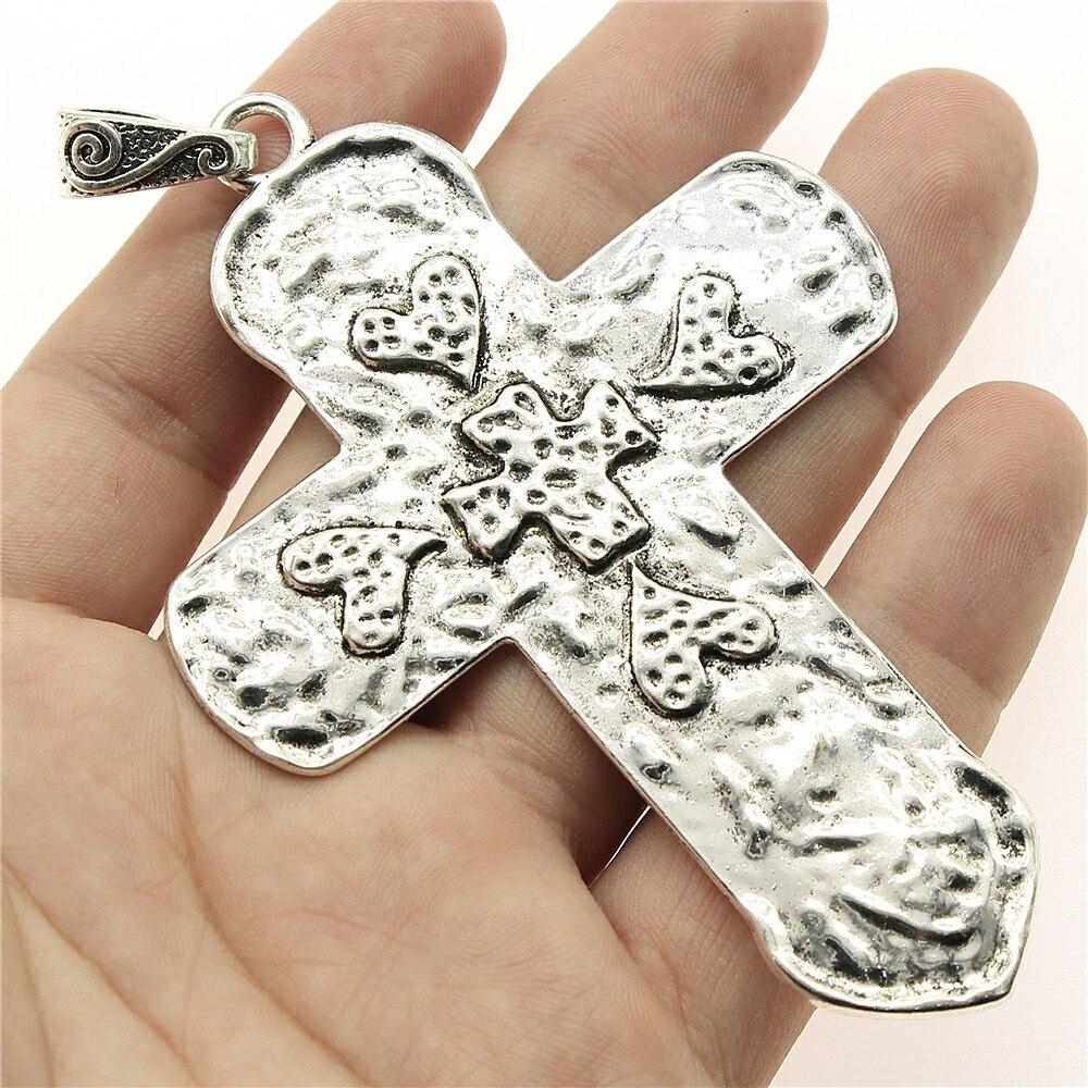 WYSIWYG 1pcs 94*65mm Big love heart cross Pendants Charms Findings Jewellery Making Findings for DIY Craft