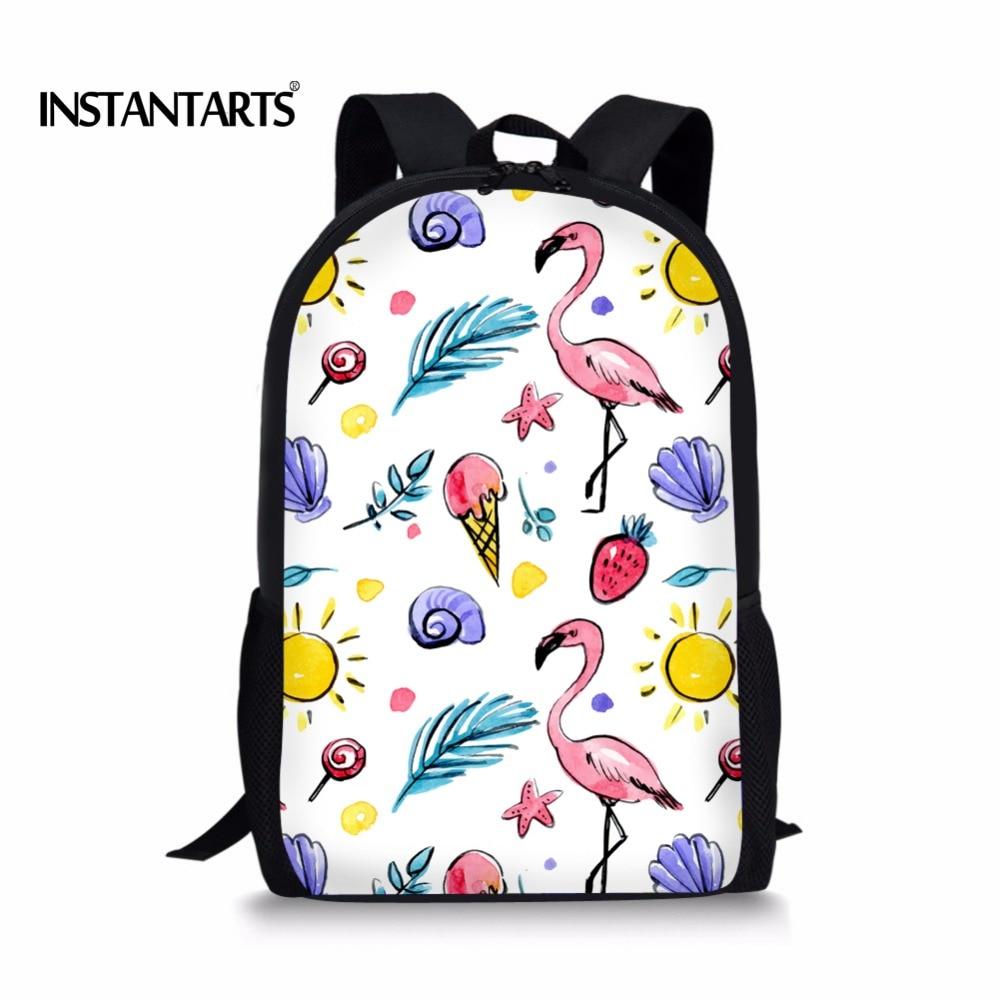 INSTANTARTS новые детские школьные сумки милые животные Фламинго печать головоломки Bookbags для Начальная школа детская книга Сумка