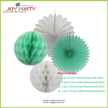10 pieces per lot Mint Tissue Paper Honeycomb balls Honeycomb fans Assoreted Wedding Baby Shower Party Decoration Favor