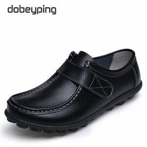 Image 1 - Cuir véritable femmes chaussures décontractées à lacets femme mocassins mocassins femmes chaussures plates solide talon bas dame chaussure doux chaussures pour femmes