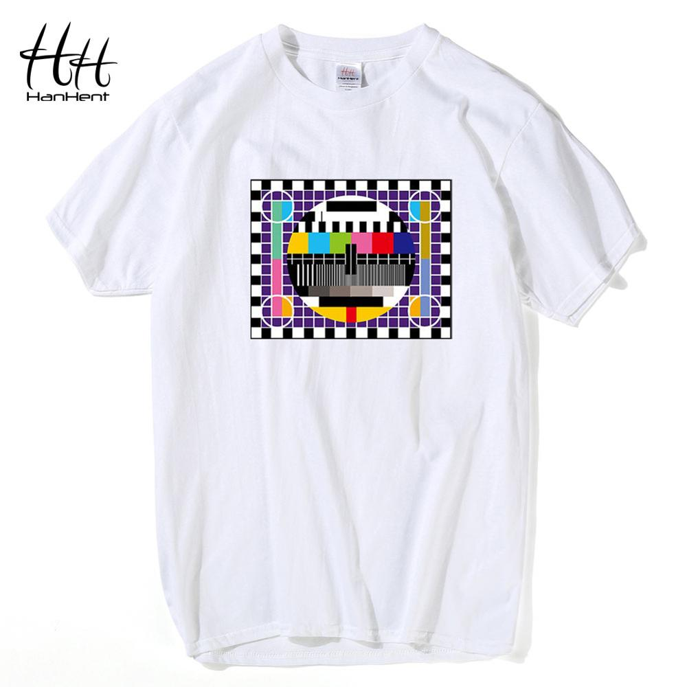 HanHent TV Test card Fashion   T  -  shirt   Men The Big Bang Theory Short Sleeve Cotton Tshirts Summer Skate Male   T     shirts   White   Shirt