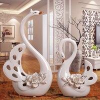 Simulation Animal Statue Outline In Gold Swan Arts Ceramics Craftwork Living Room Decor L2933