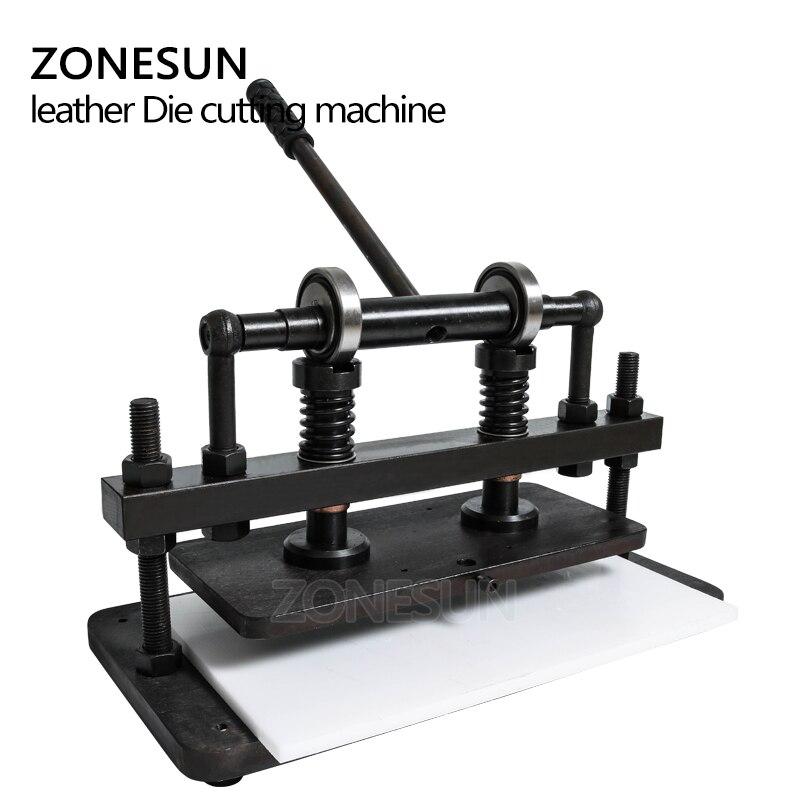 ZONESUN 3616 cm doble rueda de mano de cuero cortadora de papel fotográfico PVC/EVA hoja molde cortador de cuero troquelado máquina Herramienta - 5
