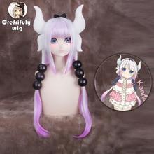 Anime Miss Kobayashi's Dragon Maid KannaKamui Cosplay Wig 80cm Long Straight Synthetic Hair + 6 Balls Costume Party Hairpiece цена 2017