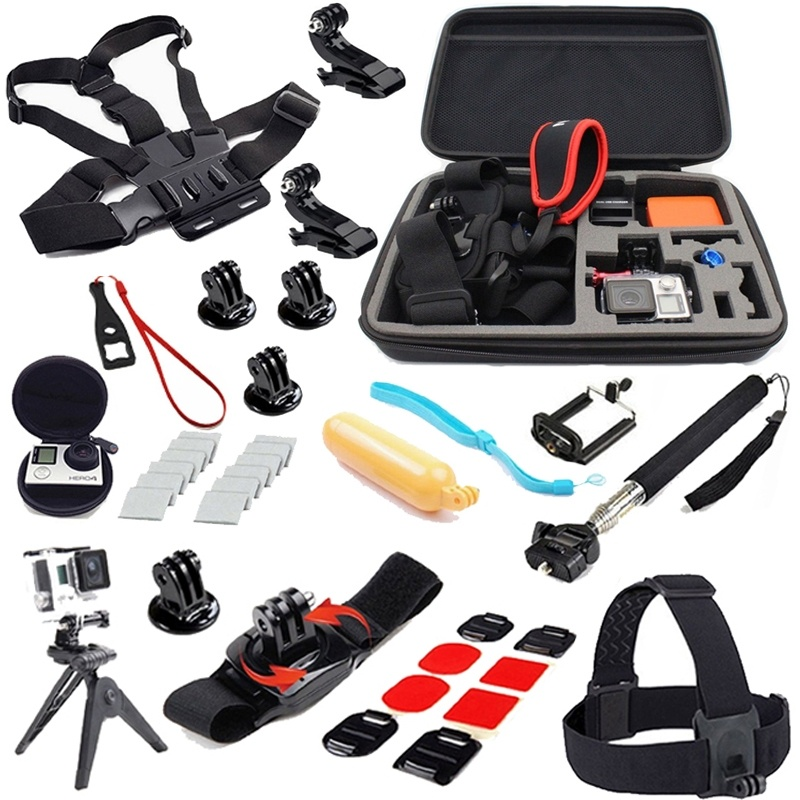 Accessories Kit Chest Belt Strap Head Belt Camera Bag Monopod Suction Cup Mount Holder Floating Grip for Gopro Hero4 3+ 3