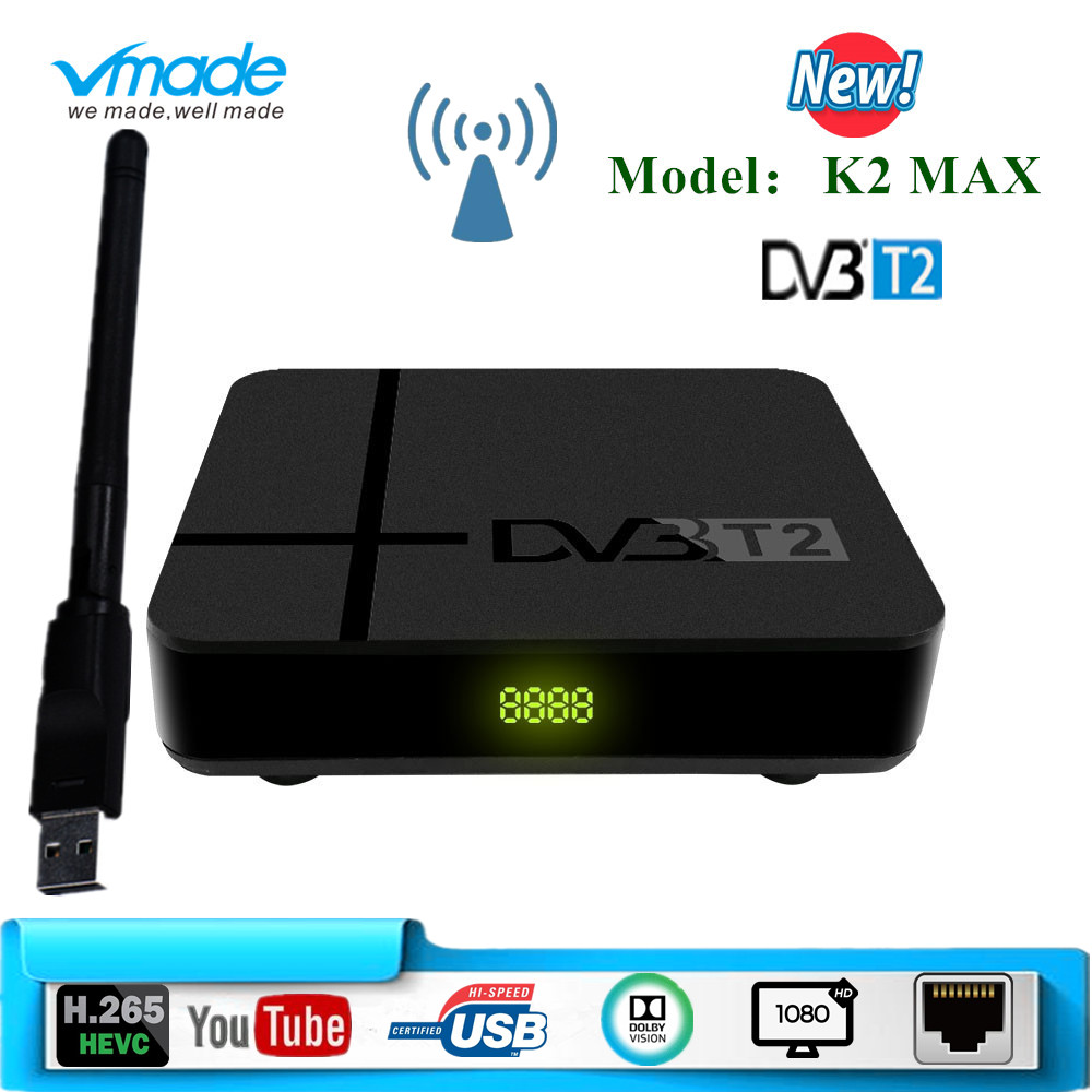 Vmade DVB T2 K2 MAX Box HD 1080P Terrestrial Receiver DVB T2 TV Tuner Decoder DVB T2 H.265 With USB Wifi Support Dobly AC-3