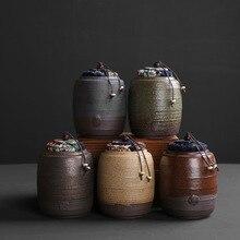 Китайские антикварные керамика чай канистра Малый чайхана Керамический Фильтр Чай Портативный Путешествия уплотнение канистра Pu'er угги проснуться
