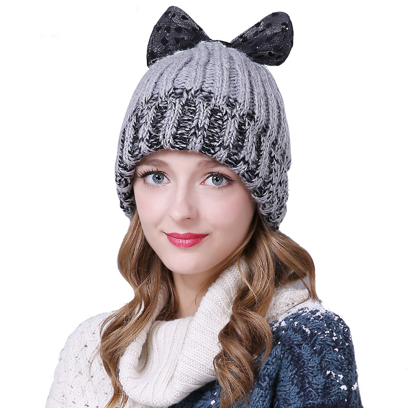 Sedancasesa 2019 New High Quality   Skullies     Beanies   Handmade Bowknot Winter Hat For Women Girl's Hat Knitted Warm Cap Lady Caps