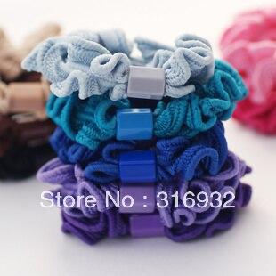New! Ruffle trimmed elastic tousheng headband hair rope, 20pcs/lot
