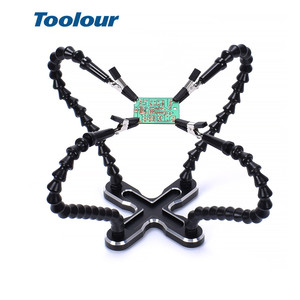 Image 1 - Toolour Soldering Station with 4pc Flexible Arms Soldering Iron Holder Third Helping Hand Tool PCB Welding Repair Welding Tool