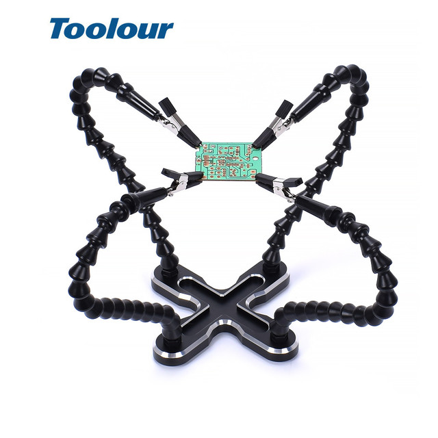 Toolour Soldering Station with 4pc Flexible Arms Soldering Iron Holder Third Helping Hand Tool PCB Welding Repair Welding Tool