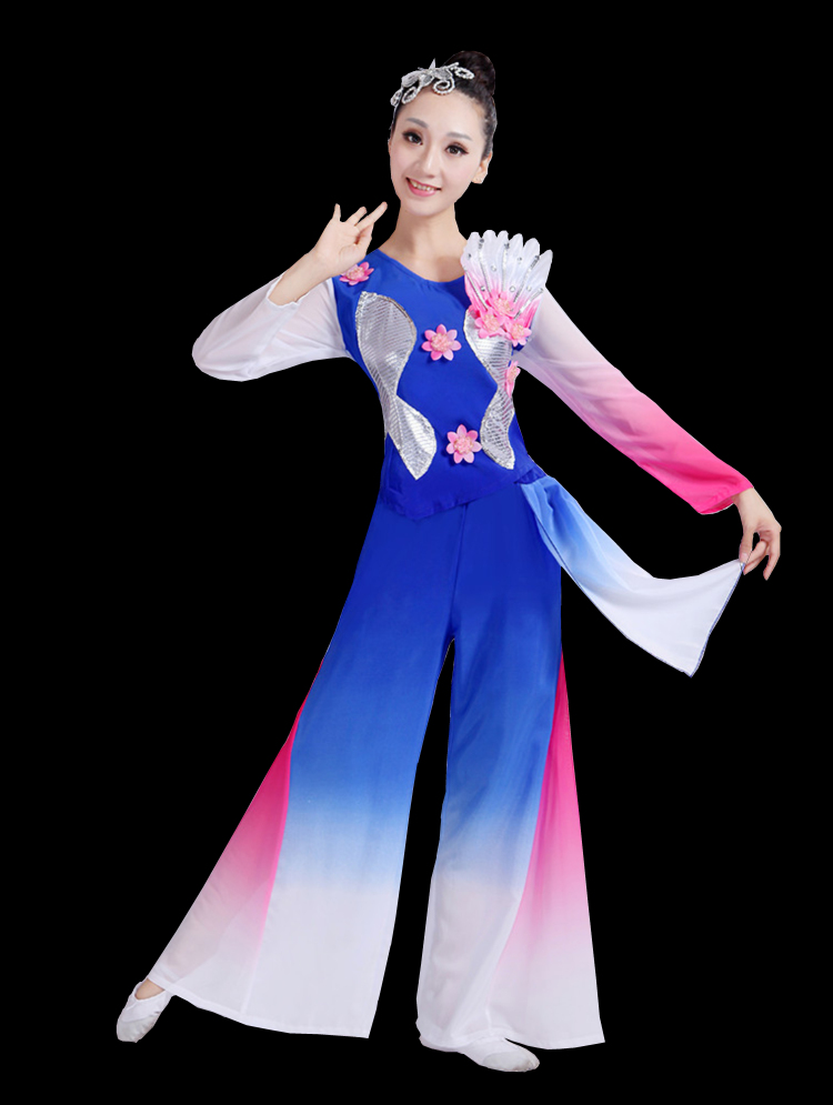 Chinese style Hanfu classical dance costume female national dance fan dance costume ancient chinese costume in Chinese Folk Dance from Novelty Special Use