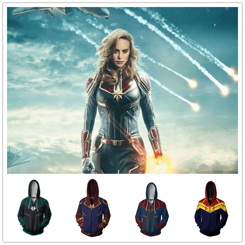 Movie Superhero Captain Marvel Carol Danvers Cosplay Costumes Hoodie Jacket Coat Sweatshirt