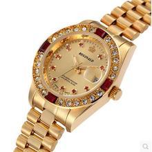 Luxury Crown Brand Watch Full Gold Steel Clock Fashion Ladies Male Couple Hight Grade Water Resistant Calendar Diamond Watches
