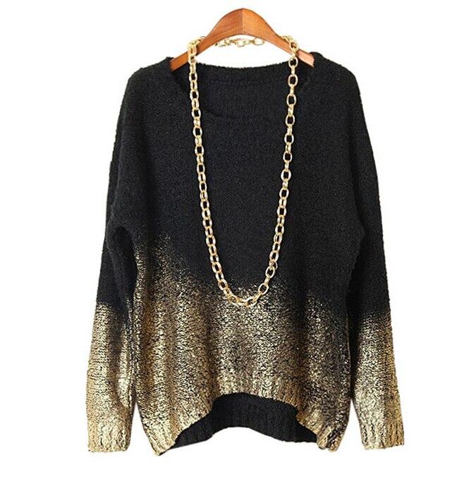 Oversized Sweater 2017 Nieuwe mode O-hals Tops Europese vergulde - Dameskleding