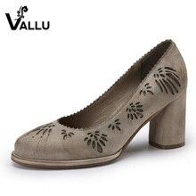 2017 vallu обувь на высоком каблуке из натуральной замши женские Насосы не сужающийся к низу каблук ручной резной женская обувь Весенняя Новинка