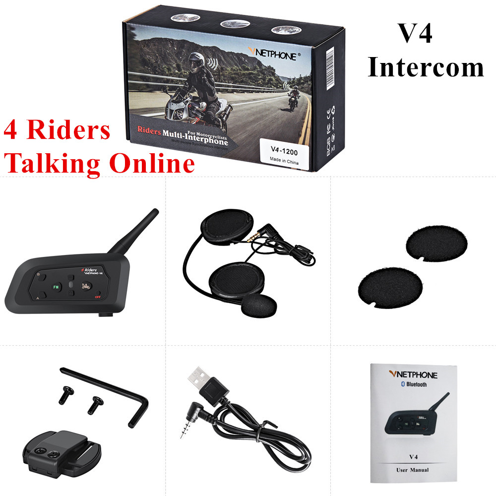 Wireless 1200m Motorcycle Intercom Bluetooth Helmet Headset Interphone For 4 Riders Touring Talk Online Mutli-Intercomunicador