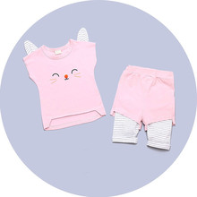 New summer stereo cute cat ears children suit two pieces Korean girls clothing wholesale