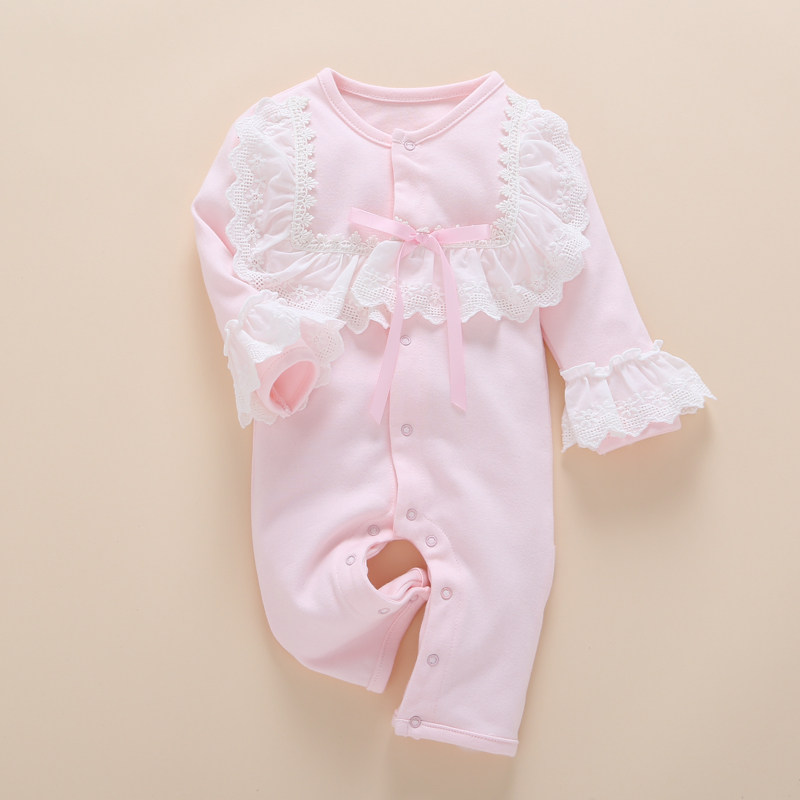 Lace Baby Romper Clothes Set 2017 Spring Summer Cotton Newborn Baby Girls Toddler Infant Jumpsuit Long Sleeve Kids Rompers cotton baby rompers infant toddler jumpsuit lace collar short sleeve baby girl clothing newborn bebe overall clothes