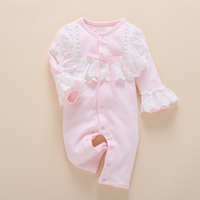 Lace Baby Romper Clothes Set 2017 Spring Summer Cotton Newborn Baby Girls Toddler Infant Jumpsuit Long