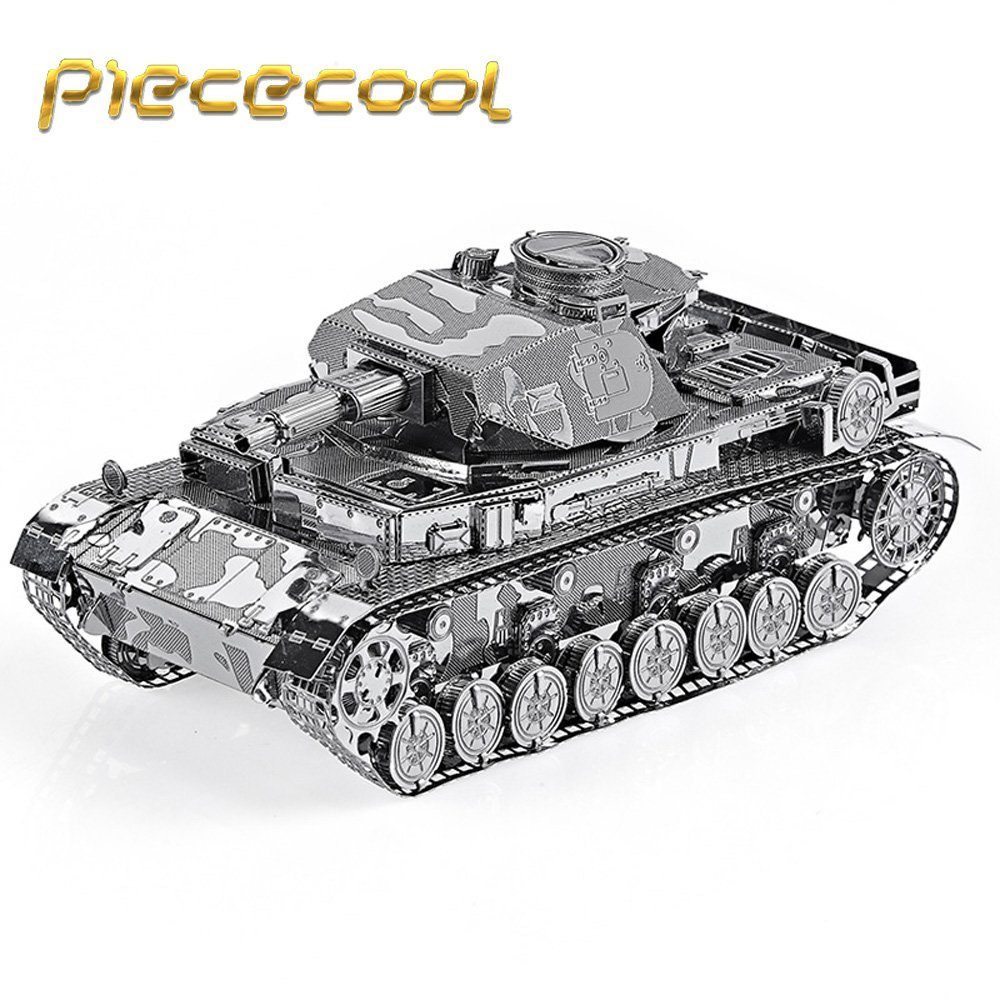 Original Piececool German IV Tank P037-S Model DIY 3D Metal Assembling Laser Cut Puzzle Toys Military Series 2 Sheets