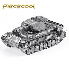 Original Piececool German IV Tank P037-S Model DIY 3D Metal Assembling Laser Cut Puzzle Puzzle Toys Ռազմական Սերիա 2 թերթ
