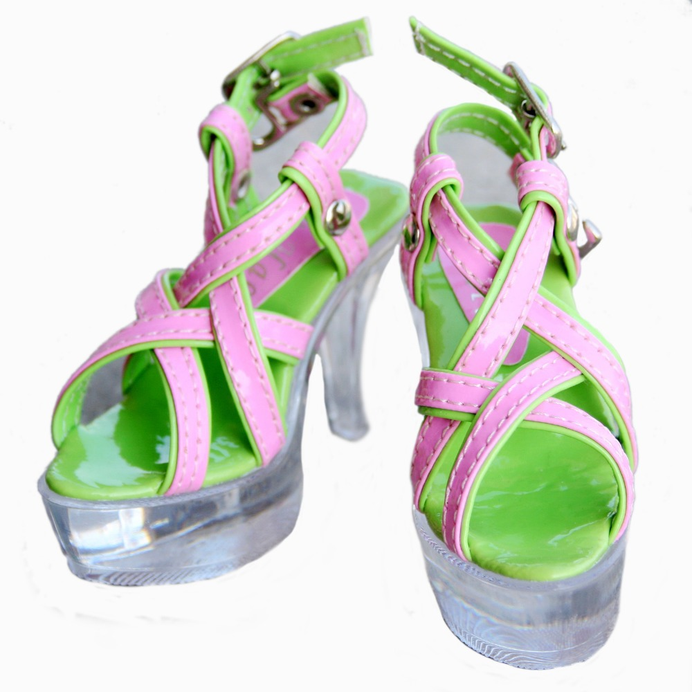 [wamami] 52# Pink&Green 1/3 SD LUTS BJD Dollfie High Heels Synthetic Leather Shoes-7.5cm 1 3 1 4 bjd sd cute shoes sd dod luts bjd dz lacing short boots sh26