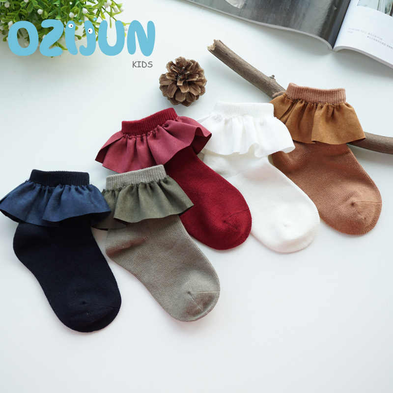 One Pairs Sweet Girls Kids Flannelett Lace Cotton Socks Princess Bow Soft Trim Baby Toddler Short Socks High Quality