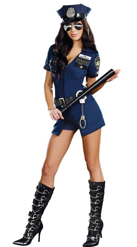 Vocole Sexy Policewoman Costume Police Women Cop Cosplay Uniform Halloween Fancy Dress