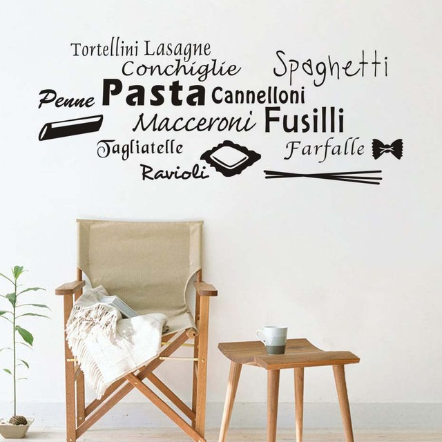 Us 13 12 15 Off All Kinds Of Pasta Dining Room Wall Sticker Quotes Customized Art Decal Self Adhesive Wallpaper Kitchen Tile Stickers In