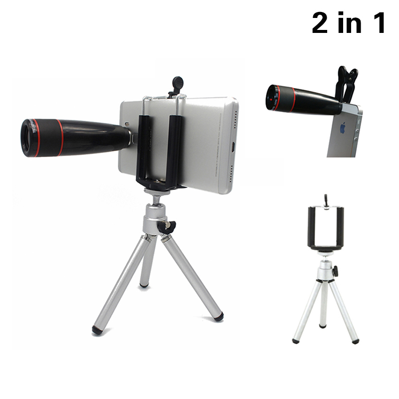 High Quality  12X Zoom Telephoto Telescope Lens Phone Camera Lenses Kit  With Clips Mobile Tripod For iPhone 6 7 Samsung Xiaomi