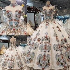 Image 1 - 2018 nuevo patrón de novia hombro con una palabra auto cultivo coreano fino conciso largo de cola de color vestido de boda Vestido completo 2411