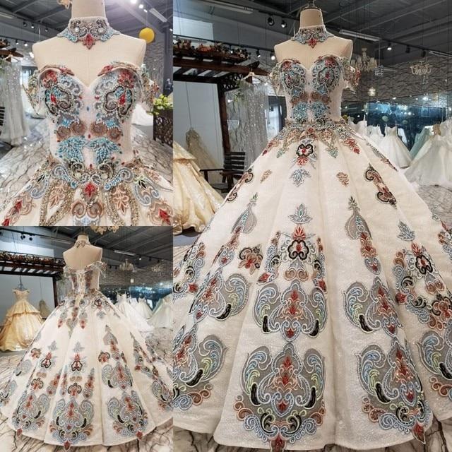 2018 nuevo patrón de novia hombro con una palabra auto cultivo coreano fino conciso largo de cola de color vestido de boda Vestido completo 2411
