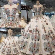 2018 דפוס חדש הכלה מילה אחת כתף קוריאני טיפוח עצמי הדק ארוך עוקב תמציתי צבע שמלה מלאה שמלת כלה 2411