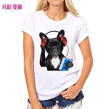 2017 dog Women's Animal Paradise Lovely Geek French Bulldog Print t-shirt Hipster Brand Graphics Art Tees pc096
