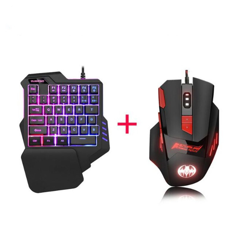 Hand-Gaming-Keyboard Combos Smartphone Mobile Mini-Usb Led-Backlight One-Handedly Mouse title=
