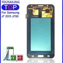 Pantalla LCD Super AMOLED 100% probada, montaje de pantalla táctil de trabajo para Samsung Galaxy J7 2015 J700 J700F J700H J700M