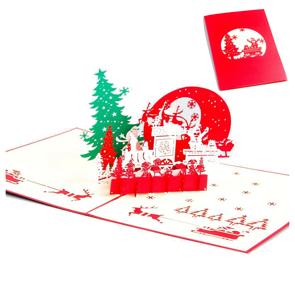 Perfect-Handmade Blank 3D Pop Up Greeting Card PostCards Christmas Eve Tree with Matching Envelope Laser-Cut Surprisingly Perf