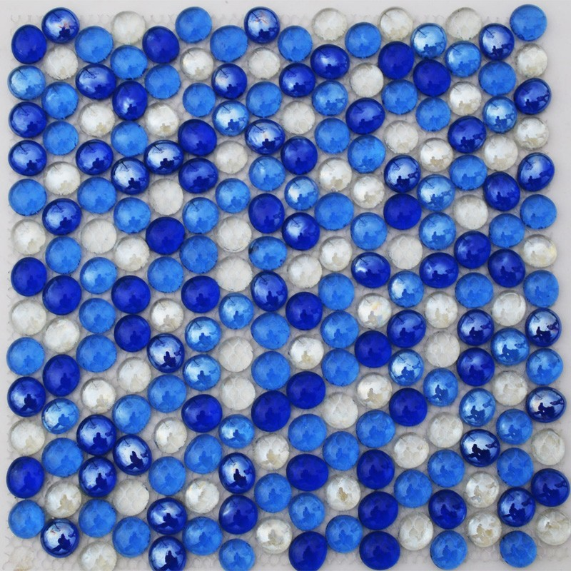 mediterranean blue glass beads round mosaic tiles for pool wall bathroom tile personalized mosaics free shipping