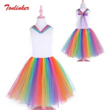 2019 New Seven Colors Rainbow Tutu Dance Dress Princess Flower Girl Party Kids Halloween Costume Vestido