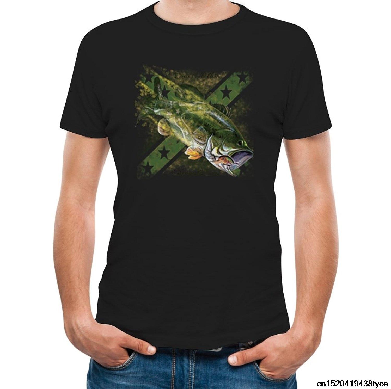 Design t shirt murah - Gildan T Shirt Dicetak Desain Bass Fishinger Flag Keren Desain Unik Nelayan Pakaian T Shirt Lingkaran T Shirt Desainer