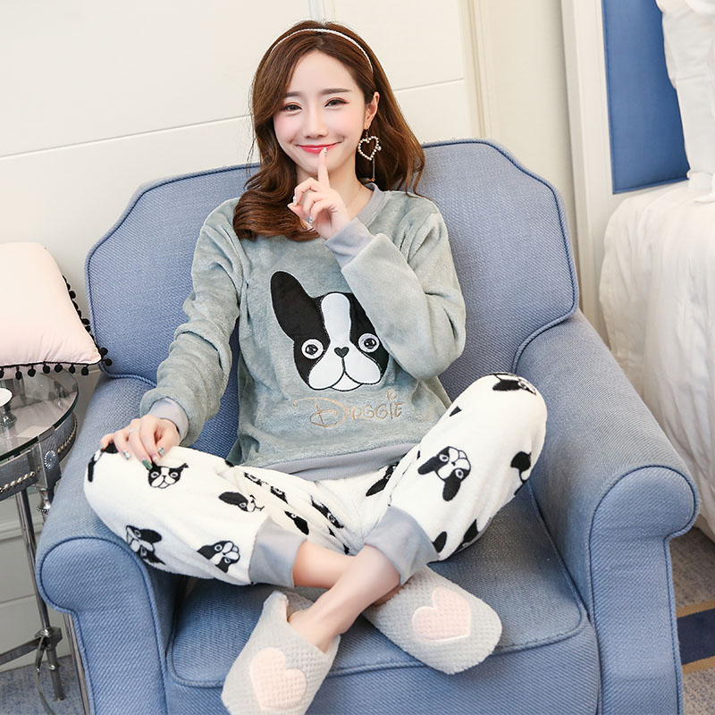 Flannel Winter Women   Pajamas   Printing Cartoon Dog Cute with Long Sleeve Pant O Neck Large Size Warm Home Suit   Pajama     Sets