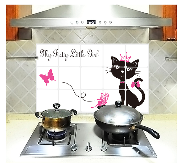 Exceptional Pretty Cat Kitchen Decor Decoration Oil Proof High Temperature Resistant  Aluminum Foil Removable Mural Tile Wall
