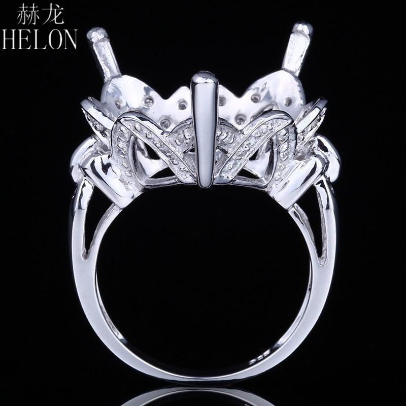 Здесь можно купить  HELON 18.5-19.5mm Heart Shape Sterling Silver 925 Natural Diamonds Semi Mount Engagement Ring Classic Fine Jewelry  Ювелирные изделия и часы