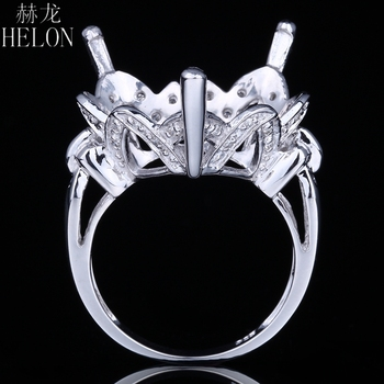 HELON 18.5-19.5mm Heart Shape Sterling Silver 925 Natural Diamonds Semi Mount Engagement Ring Classic Fine Jewelry
