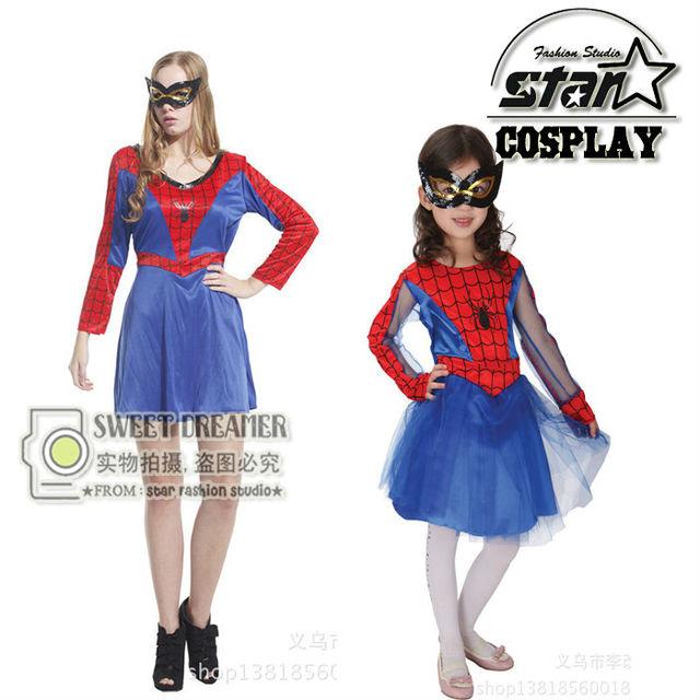 Family Matching Spidergirl Spiderman Fancy Dress Costume Superhero Cosplay Birthday Party Halloween Children'Day Christmas Gift