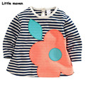 Little maven children brand clothing 2016 autumn fashion girls cotton long sleeve O-neck big flower striped t shirt CT056